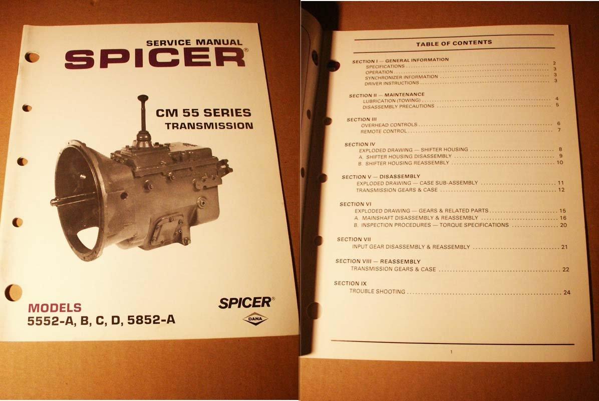 Service Manual Spicer CM 55 Series Transmission MOdels 5552