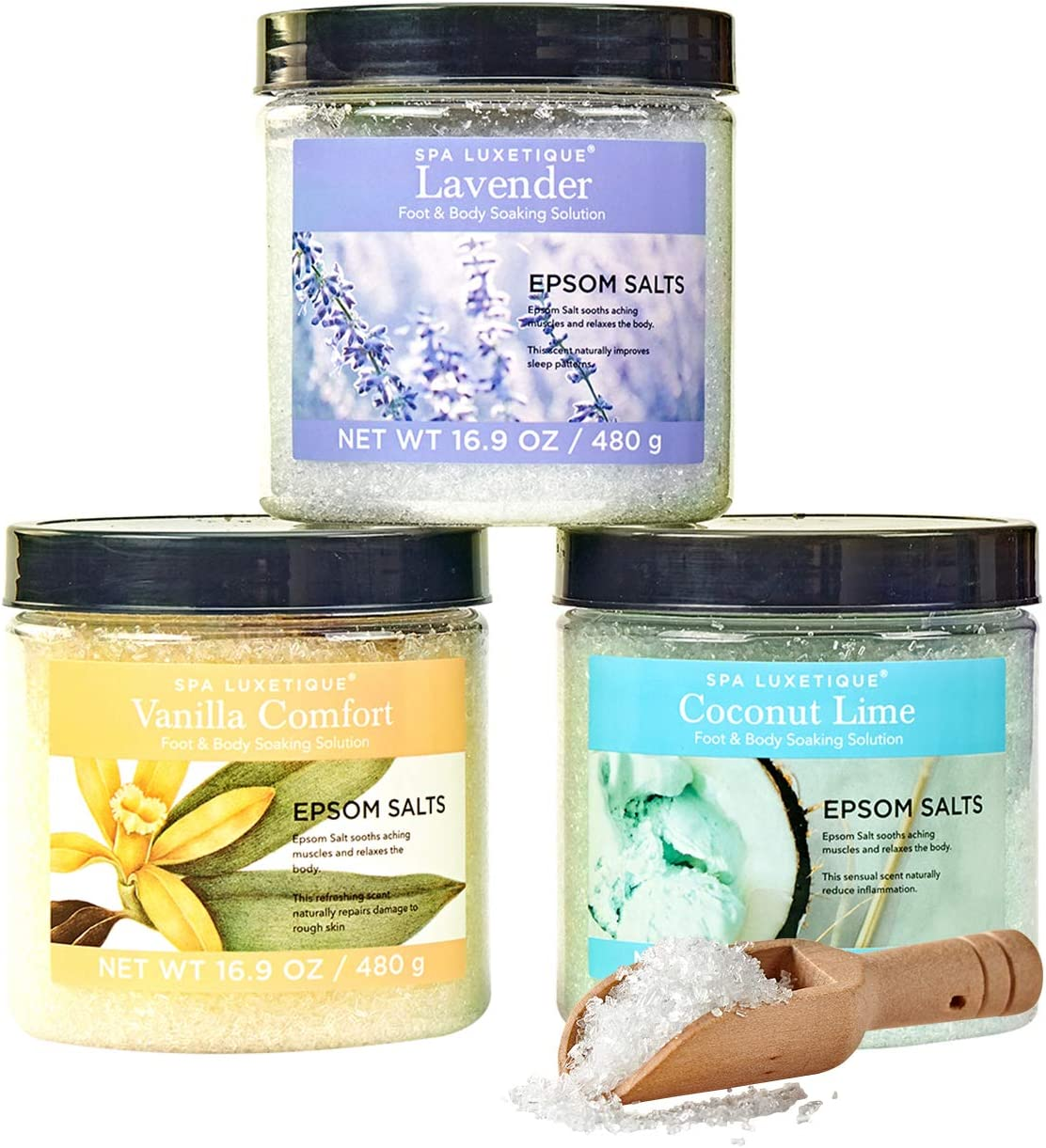 Spa Luxetique Epsom Salt Soaking Solution, Bath Salts for Muscle Soreness and Foot Soaking Solution. Bath Salt Gift Set in Lavender, Coconut, Vanilla Scent with Wooden Scoop. 3pack,16.9oz Each.