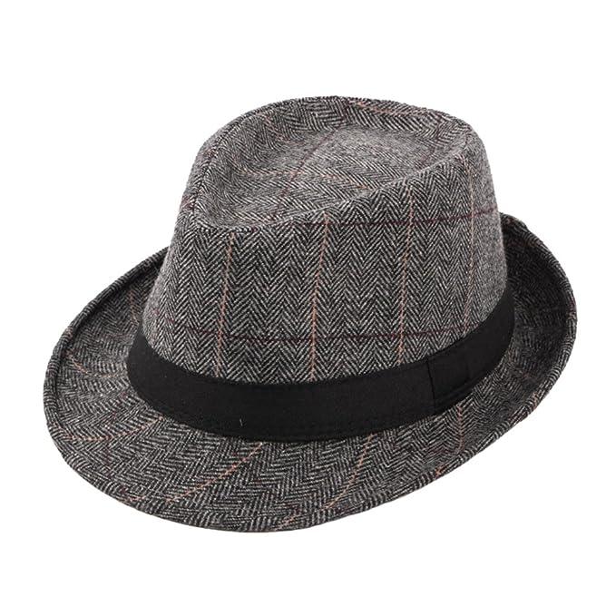 4dcd55ab8a0c4 Sombreros Fedora Jazz Trilby Hombre Mujer Fieltro Tartán Sombrero de Otoño  Invierno