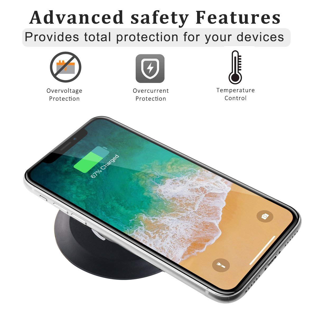 Desktop Wireless Charging Station for iPhone X iPhone 8 - Samsung Galaxy S8,QI Wireless Charger Grommet Hole In Desk Charging,Desk Grommet Wireless Charger(no adapter)