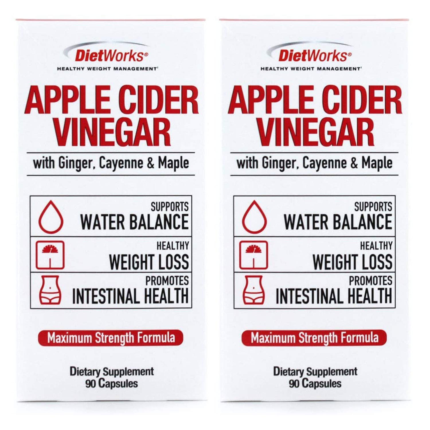 Dietworks Apple Cider Vinegar Pills with Ginger, Cayenne and Maple - 90 Capsules each (Pack of 2)