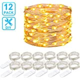 MINGER 12 Packs String Lights, 3.3FT 20 LEDs Battery Operated Fairy Lights Bedroom Patio Wedding Party Christmas (Warm White)
