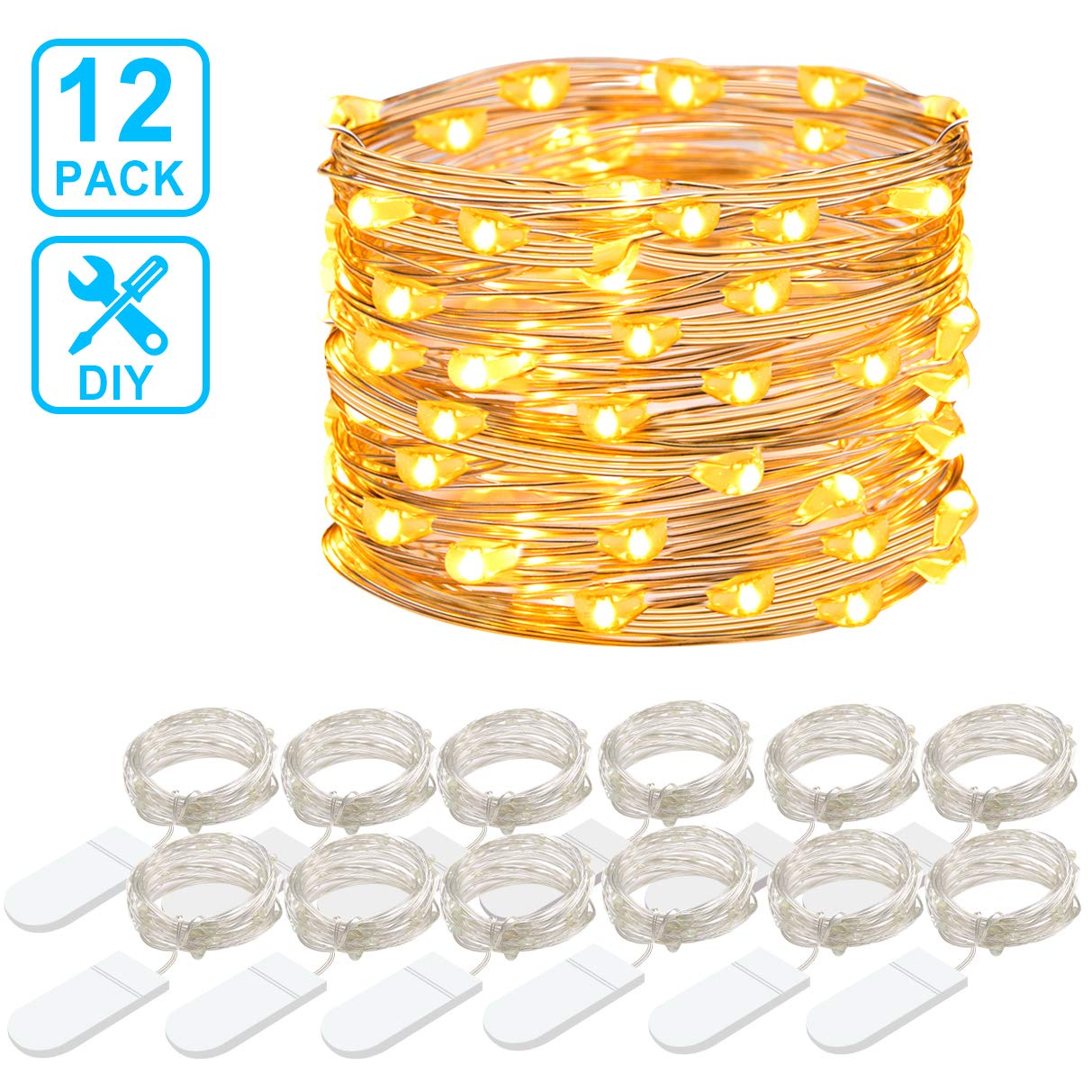 MINGER 12 Packs Fairy String Lights, 3.3FT 20 LEDs Battery Operated Jar Lights Bedroom Patio Wedding Party Christmas (Warm White)