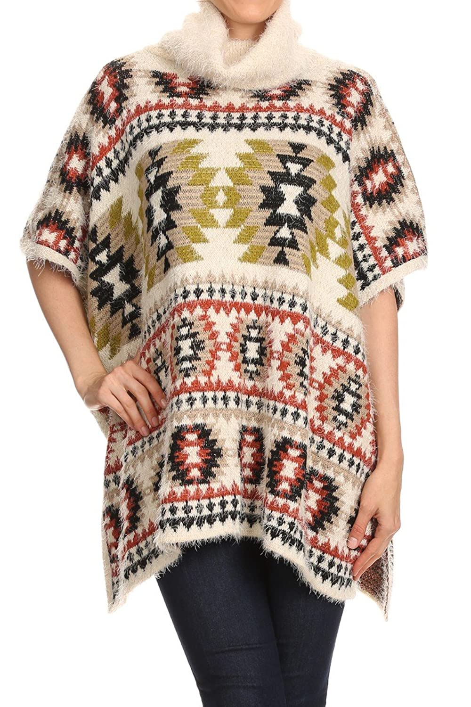 Women's Poncho Plush Knit Turtleneck Aztec Top Cape Cardigan Sweater Coat Outwear