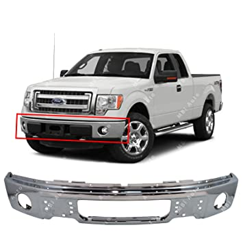 Mbi Auto Chrome Steel Front Bumper Face Bar Fascia For 2009 2010 2011 2012 2013 2014 Ford F150 Pickup Wfog Light Holes 09 14 Fo1002411