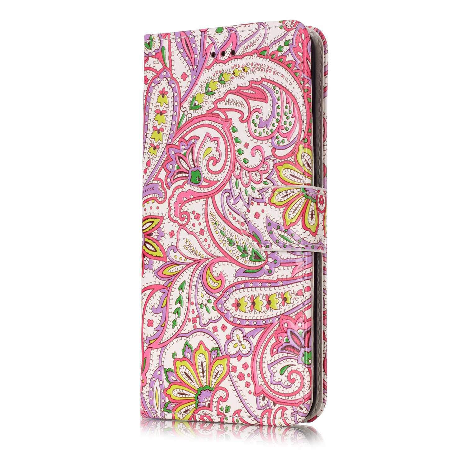DENDICO Galaxy J2 Plus Case, Wallet Leather Magnetic Flip Case Notebook Style Holster with Card Holder for Samsung Galaxy J2 Plus - Pink