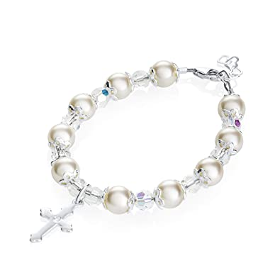 02ef0a9c9 Amazon.com: Delicate Sterling Silver Cross Charm Newborn Baby Bracelet -  with Cream Swarovski Simulated Pearls, Crystals and Silver Spacer Beads -  Best ...