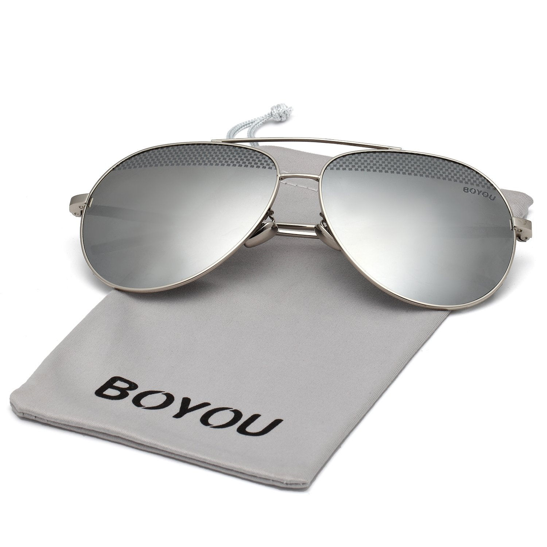 b568f0b96d BOYOU Gafas de sol lente de espejo aviador clásicos con protección ...