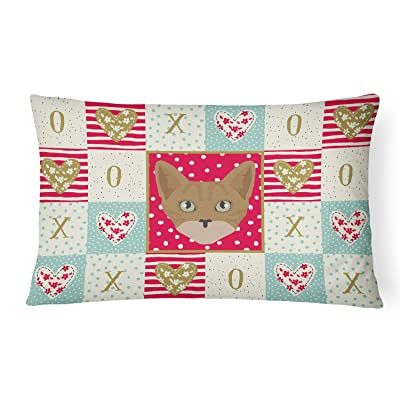 Caroline's Treasures CK5086PW1216 Australian Mist Cat Love Canvas Fabric Decorative Pillow, 12H x16W, Multicolor : Garden & Outdoor