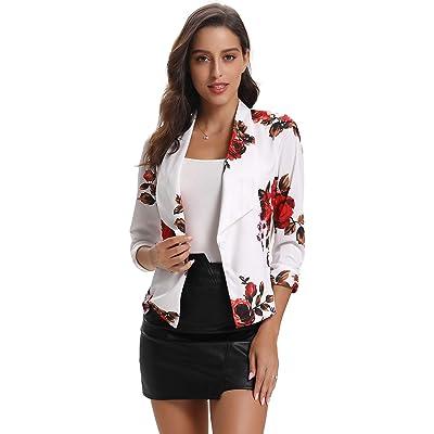Abollria Women's Blazer Stretch 3/4 Sleeve Open Draped Lapel Work Office Blazer Jacket for Winter at Women's Clothing store