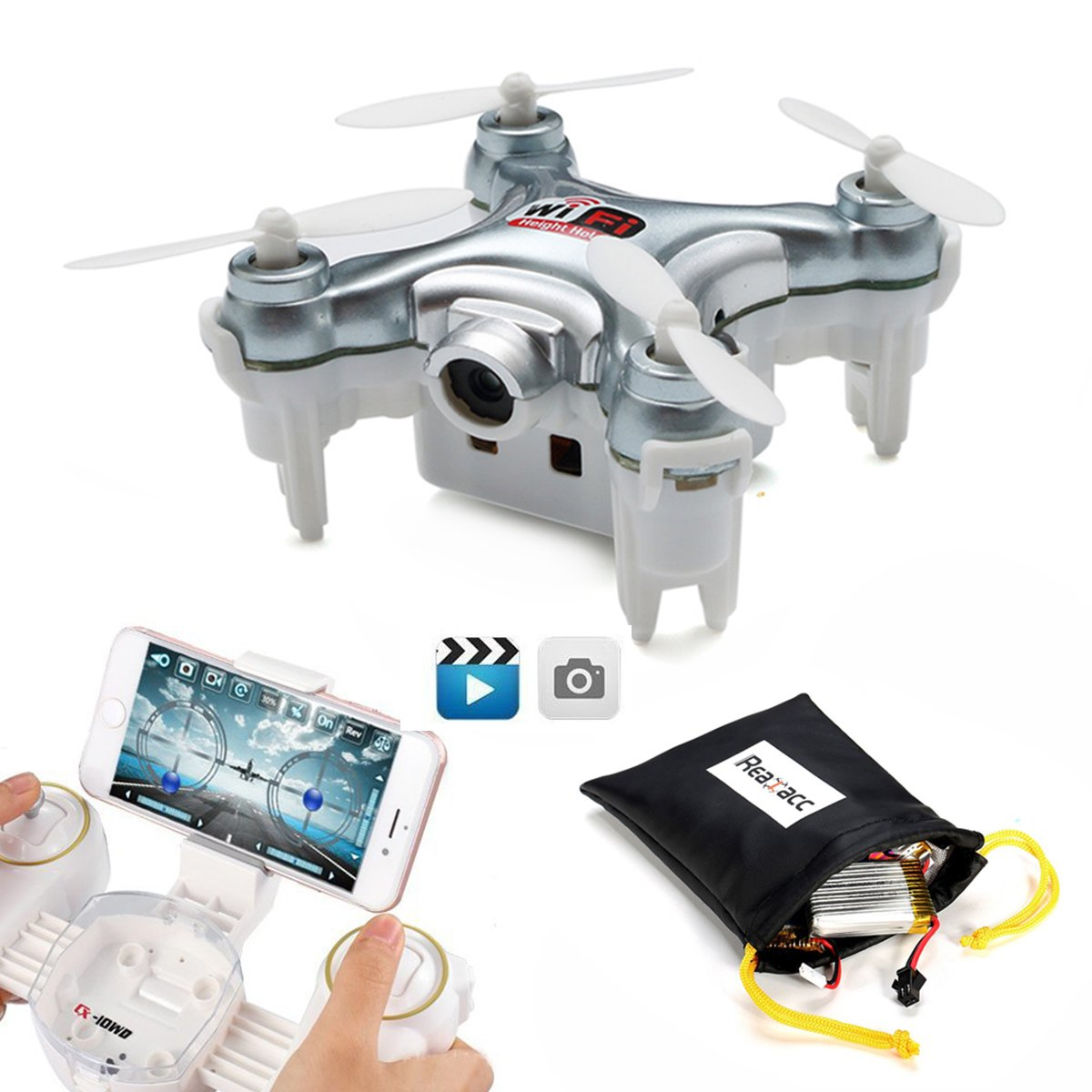 REALACC Cheerson CX WD TX Mini Wifi FPV Cuadricóptero Con Cámara High