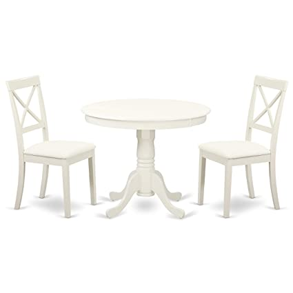East West Furniture ANBO3-LWH-LC Antique Set, Linen White