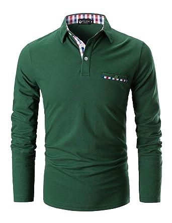 0ef8129b STTLZMC Polo Shirts for Men Long Sleeve Casual Fit Plaid Collar T-Shirts ,Green