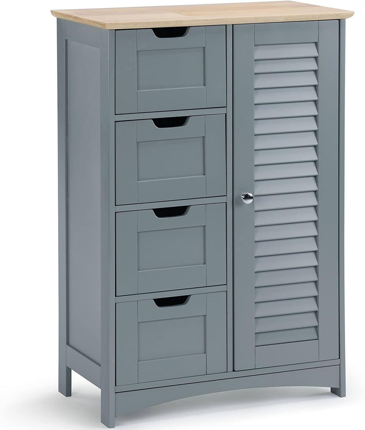 VonHaus Free Standing Bathroom Cabinet With 7 Drawers And Adjustable  Shelving – Grey Cupboard For Bathrooms