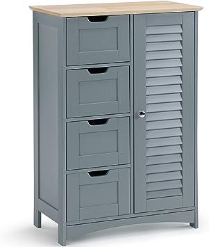 VonHaus — Grand Meuble de Salle de Bain — 4 tiroirs et 1 Placard — Solution  de Rangement sur Pieds — Coloris Gris Moderne