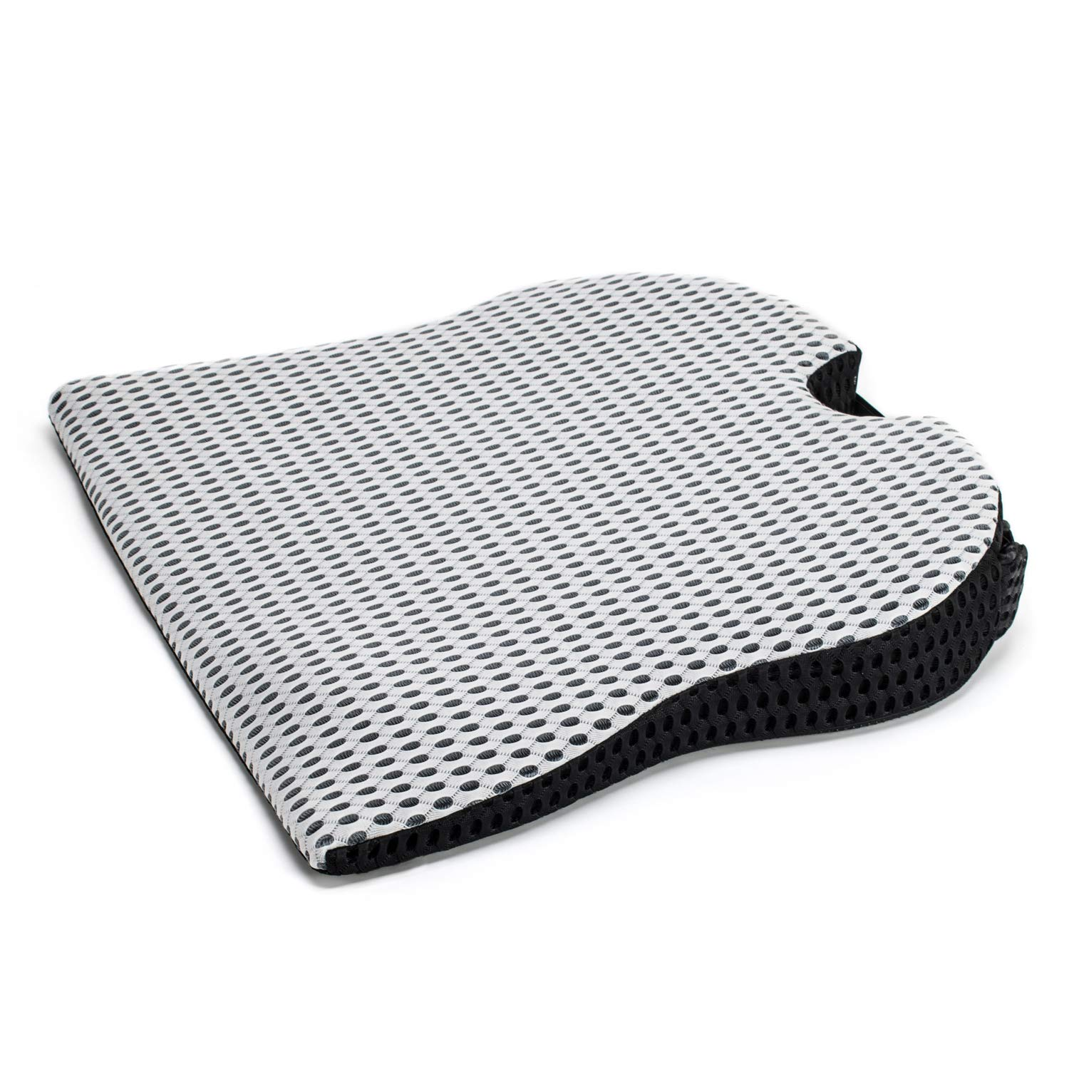 Dreamer Car Wedge Seat Cushion with Strap -Memory Foam Coccyx Wedge Pad -Orthopedic Support and Pain Relief for Lower Back, Tailbone, Coccyx and Hips-Off White