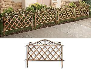 SkyMall Decorative 4 Piece Scroll Metal Look Garden Border Fence - Gold
