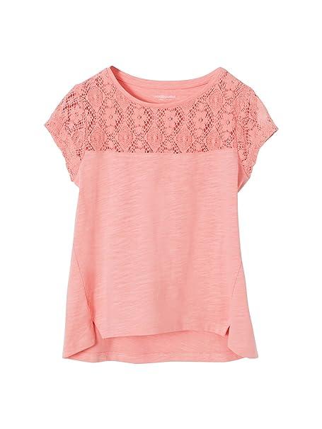 e97e6733fa505 VERTBAUDET Camiseta con Encaje de Manga Corta Niña Rosa Claro LISO con  Motivos 2A  Amazon.es  Ropa y accesorios