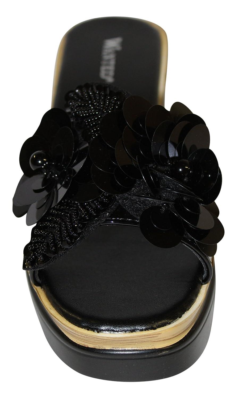 Wanted Women's Spray Flower Embellished Open Toe Platform Wedge Sandal B07BH84P3P 9 M US Black