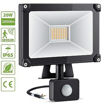 10 W blanco cálido LED foco exterior con detector de movimiento Sensor LED Foco Luz 1050LM