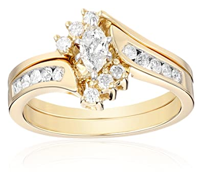 Amazon 14k Yellow Gold Marquise and Round Diamond Bypass with