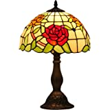 Mural Times Lighting Tiffany Table Lamp W12H18 Inch Elegant Red Rose Floral Stained Glass Light Shade Antique Bedside Table R