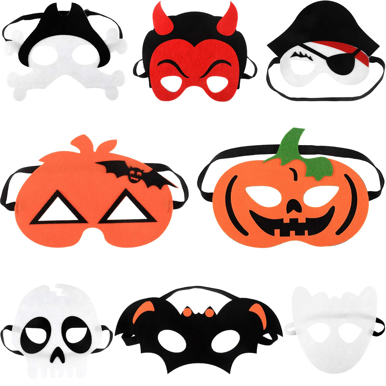 8 Pieces Halloween Felt Cosplay Mask Masquerade Mask Decorative Felt Mask with Pumpkin Pirate Skeleton Design for Kids 8 Styles
