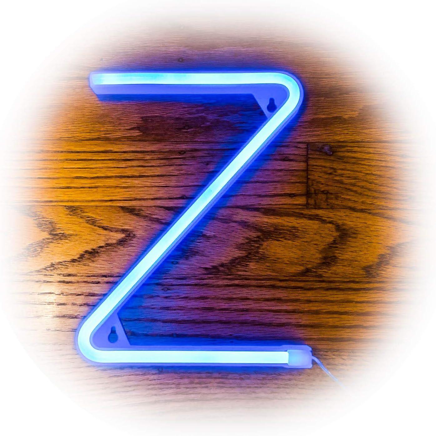 ZOLED Blue Neon Signs, LED Letter, Neon Light, LED Sign, Letter Lights, Lighted Letters, Marquee Letter, Home Decor for Bar, Wall, Bedroom (Letter Z)