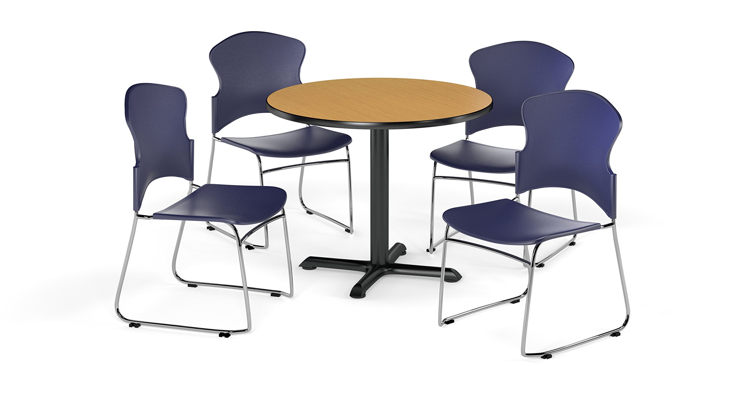 OFM PKG-BRK-033-0016 Breakroom Package, Oak Table/Navy Chair