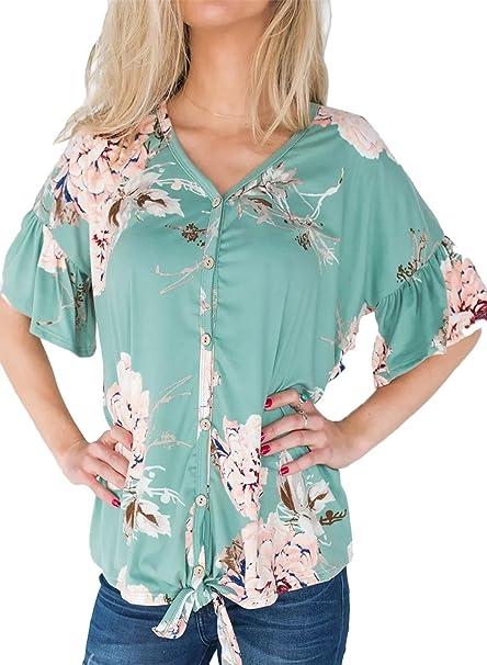 Amazon.com: mouzzy - Blusa de manga corta para mujer, diseño ...