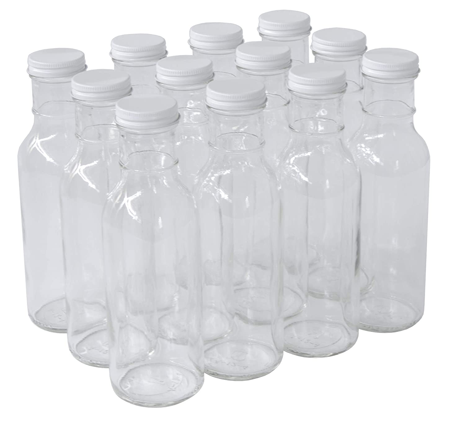 Case of 12 with White Metal Lids North Mountain Supply 12 Ounce Glass Ring-Neck Sauce Bottle 38 CT