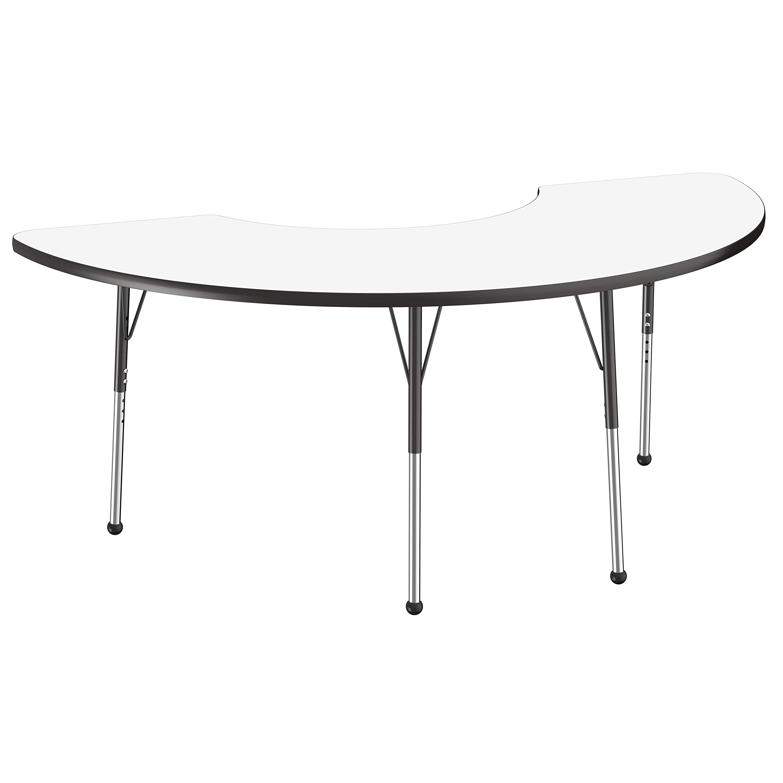 FDP Dry-Erase Half Moon Activity School and Office Table (36 x 72 inch), Standard Legs with Ball Glides for Collaborative Spaces, Adjustable Height 19-30 inches - Whiteboard Top and Black Edge by Factory Direct Partners