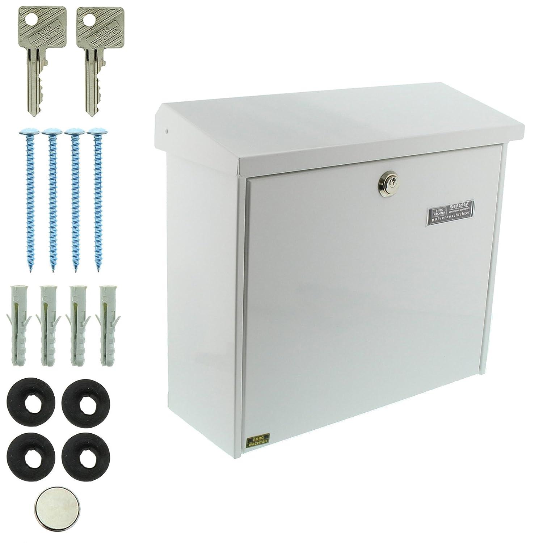 Verzinkter Stahl Comfort-Set 91300 Si EU Norm EN 13724 A4 Einwurf-Format BURG-W/ÄCHTER Briefkasten-Set mit integriertem Zeitungsfach Silber