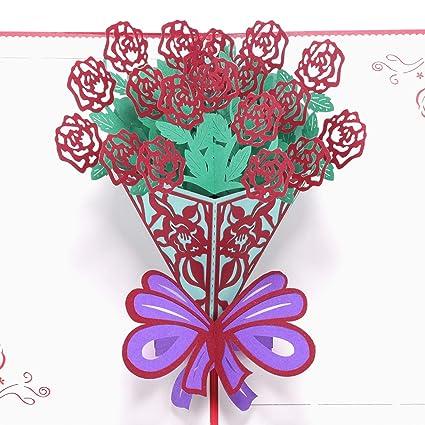 Paper Spiritz Pop Up Rose Card Birthday Anniversary Valentines Day
