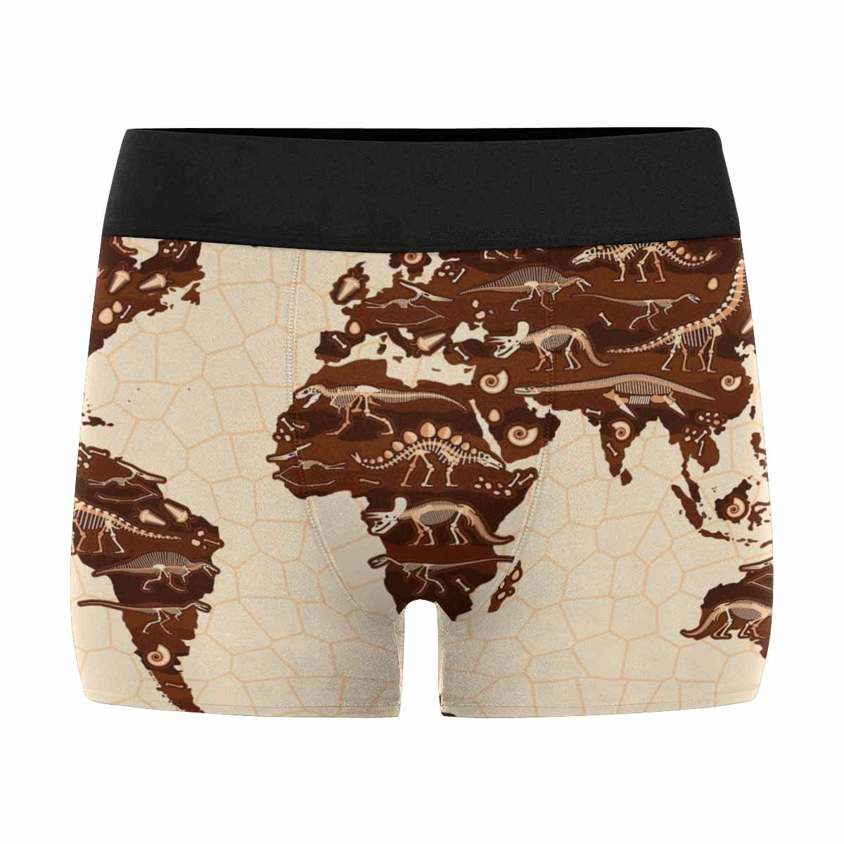 XS-3XL INTERESTPRINT Mens Boxer Briefs Underwear Cartoon World Map with Dinosaurs for Kids