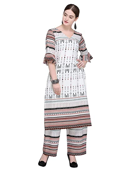 a976e46f7bf3d Inddus Off white Printed Kurta Plazzo Set  Amazon.in  Clothing ...