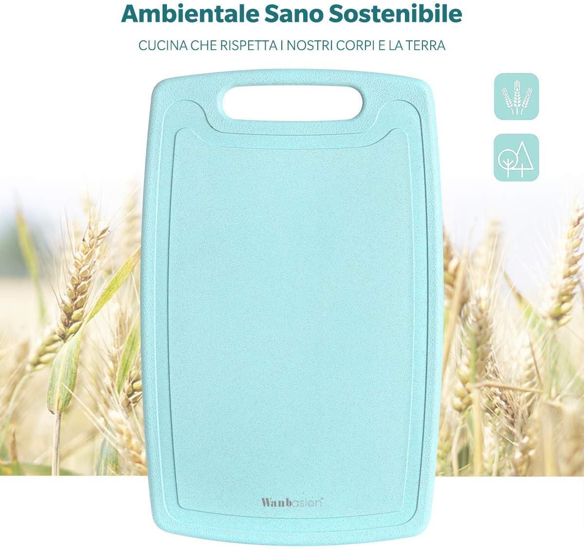 Wanbasion 3 Pezzi Tagliere da Cucina Professionale Polietilene Antiscivolo Set Coltelli da Cucina con Tagliere Resistente Tagliere da Cucina Grande Plastica Antibatterico