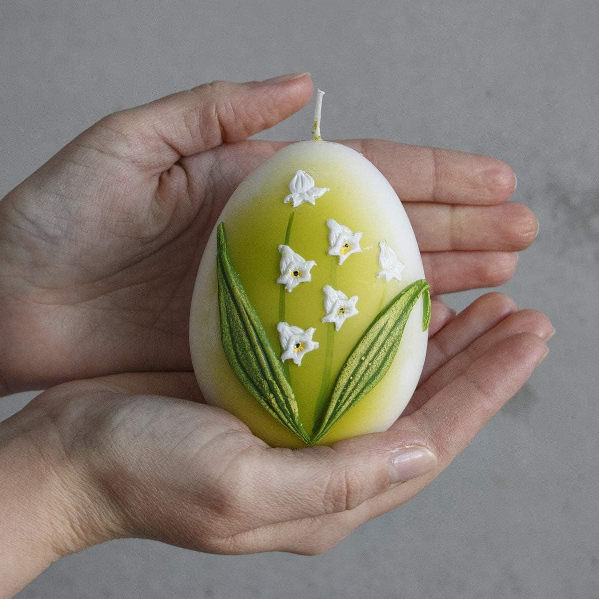 2 Stück Ostereier Kerzen Osterkerzen Handarbeit Ostergras Dekoration Wachs Kerze