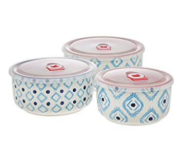 Beau Godinger Ikat Blue Round Stackable Meal Prep Bowls   Airtight Food Storage  Containers Porcelain Set Of