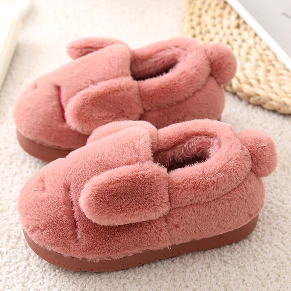 pretty.W Toddler Baby Slipper Winter Warm Non-Slip Cute Slippers Boys Girls Plush Cartoon Soft Velvet Snow Shoes