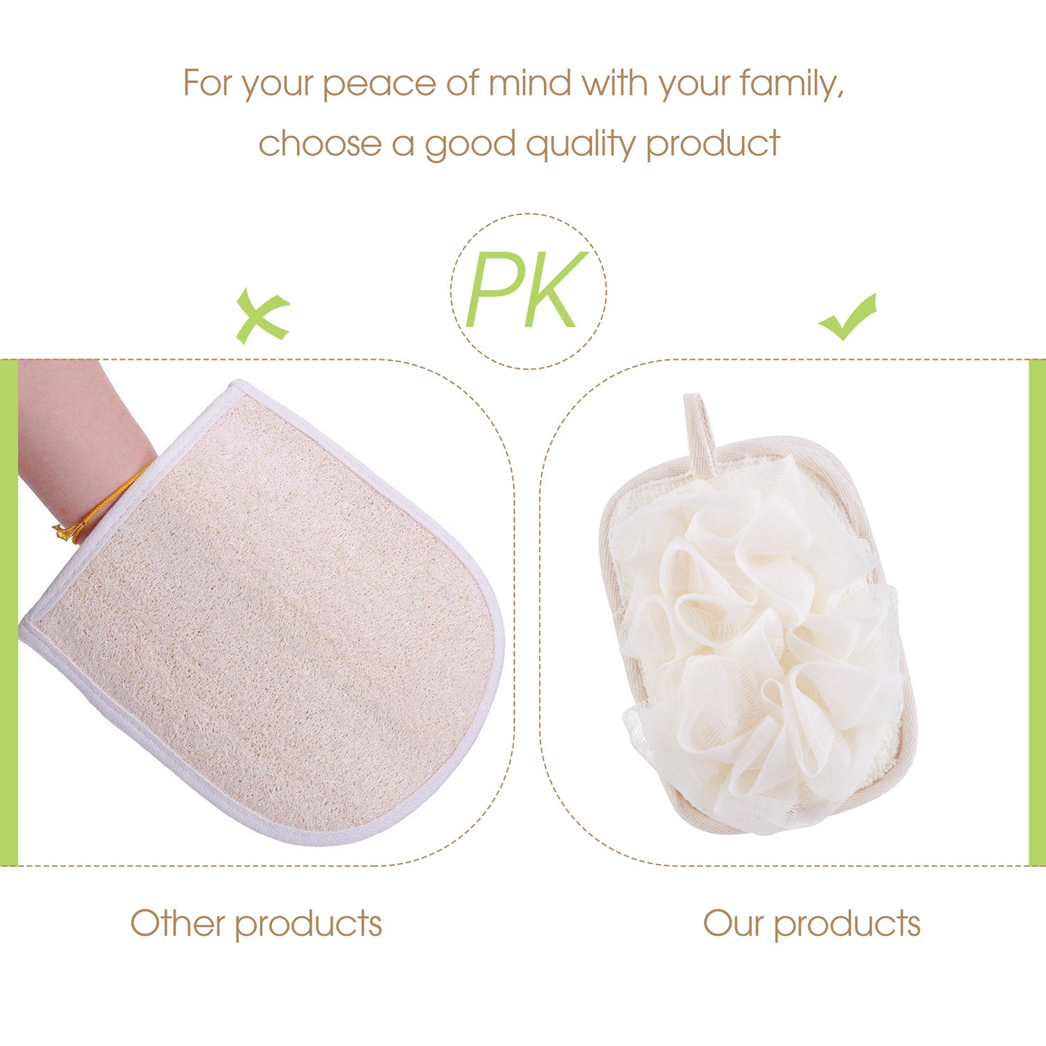 mikimini Bath Mitt for Women, Bath Pouf Mesh Brushes 2 Packs Set | Loofah Sponge & Exfoliating Pad 2 in 1 Professional Design | Exfoliating Gently with the Elastic Hand Strap or Wearing the Mitten by mikimini (Image #6)