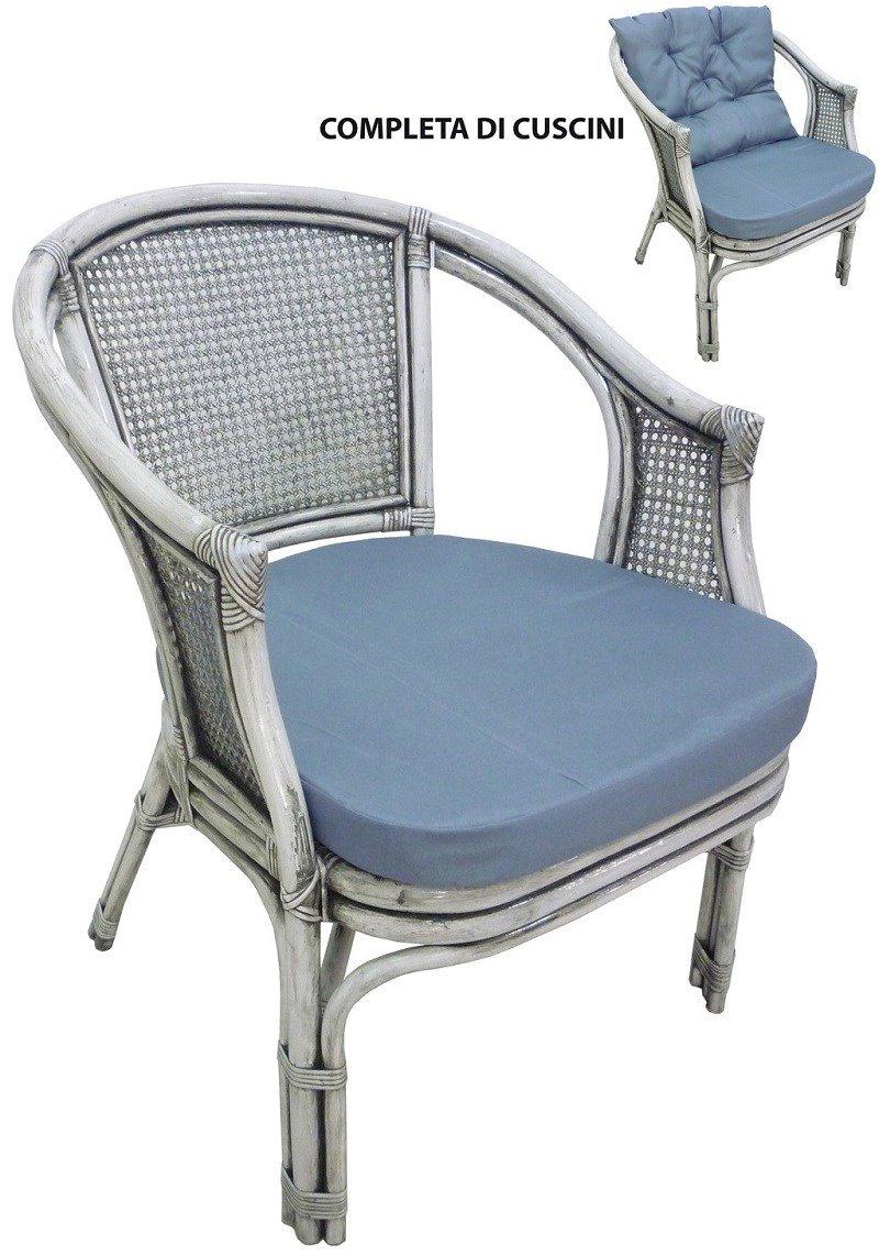 SAVINO FILIPPO SRL Poltrona sedia in vimini bambù giunco vienna rattan grigio shabby lucido con cuscini per casa camera