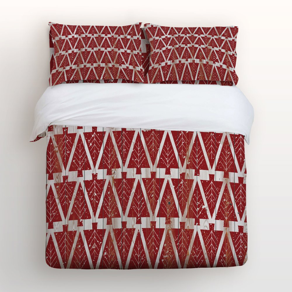 Festival Bedding Sets, Christmas Tree on Retro Red Wood Board Duvet Cover Set, Ultra Soft and Easy Care By KAROLA