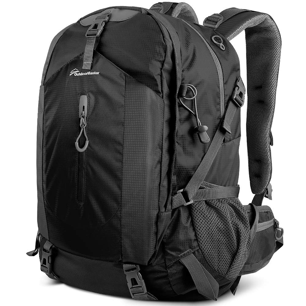 OutdoorMaster Hiking Backpack 50L - Weekend Pack w/Waterproof Rain Cover & Laptop Compartment - for Camping, Travel, Hiking (Black/Grey) by OutdoorMaster