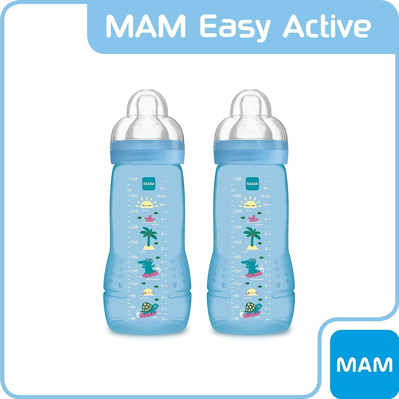 Set 2 Biberon con tettarella MAM flusso rapido azzurro 330 ml 6+ mesi MAM ZEDMM902M Easy Active