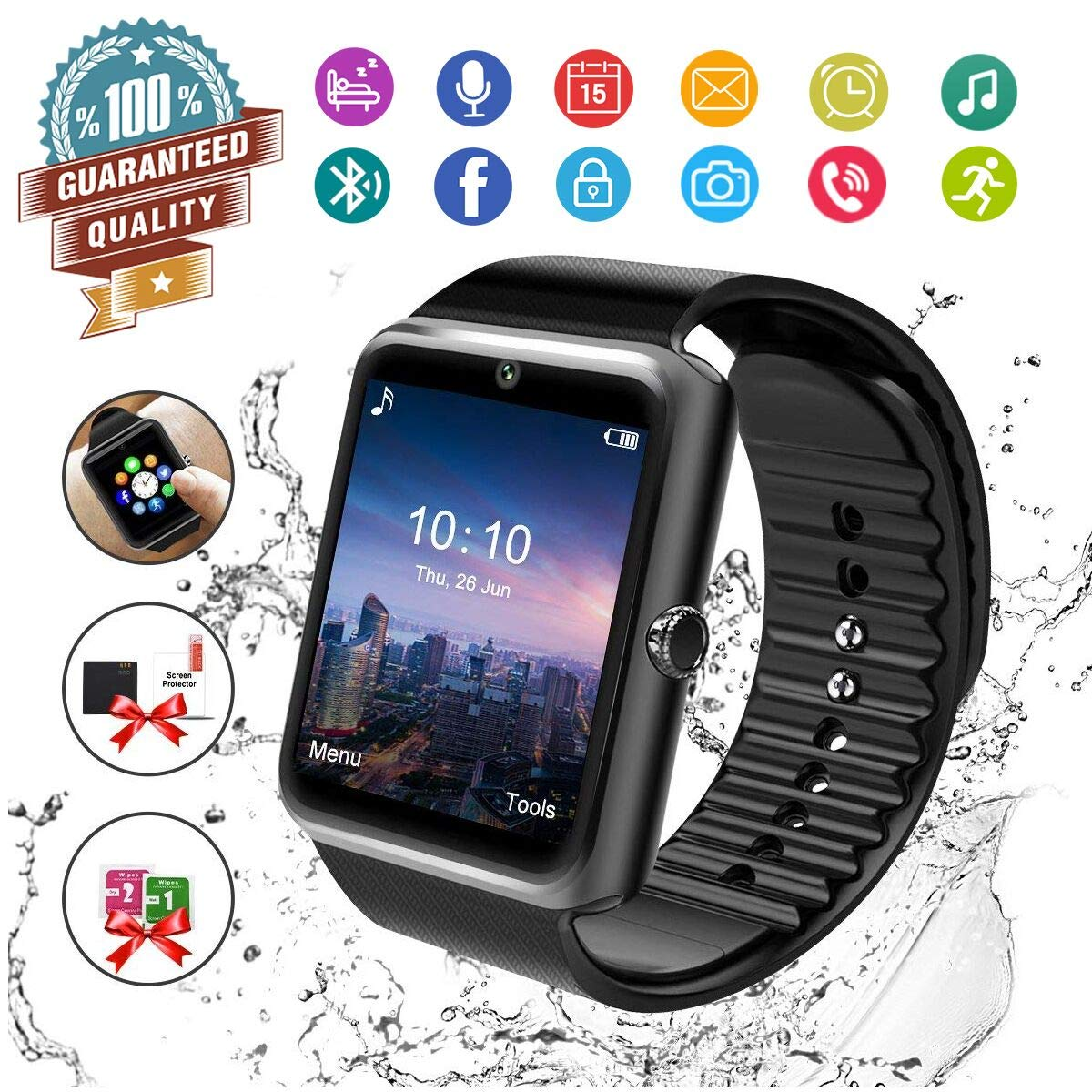 Smart Watch,Bluetooth Smartwatch Touch Screen Wrist Watch with Camera/SIM Card Slot,Waterproof Smart Watch Sports Fitness Tracker Android Phone Watch ...