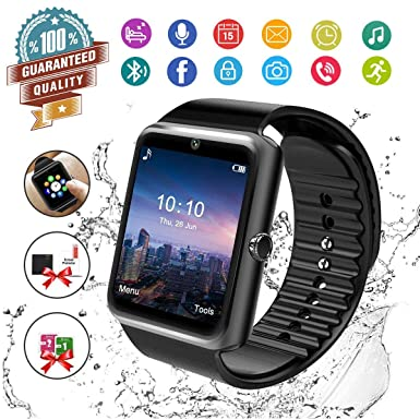 Amazon.com: Smart Watch,Bluetooth Smartwatch Touch Screen Wrist Watch with Camera/SIM Card Slot,Waterproof Smart Watch Sports Fitness Tracker Android Phone ...