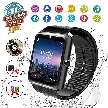 Reloj Inteligente, Hombre Smartwatch Hombre con Cámara Pantalla Táctil Ranura para Tarjeta SIM Teléfonos Inteligentes para Samsung Android Huawei ...