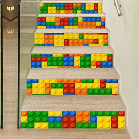 Adhesive Lego Stairs Self Renovation Stickers Children Mural 3d Art OiuZwPXkT