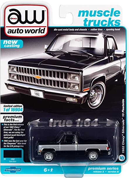 1982 Chevy Silverado 10 Fleetside Pickup Truck Dark Blue w/Silver Sides Ltd Ed to 16904 pcs 1/64 Diecast Model Car by Autoworld 64312-AWSP069 A